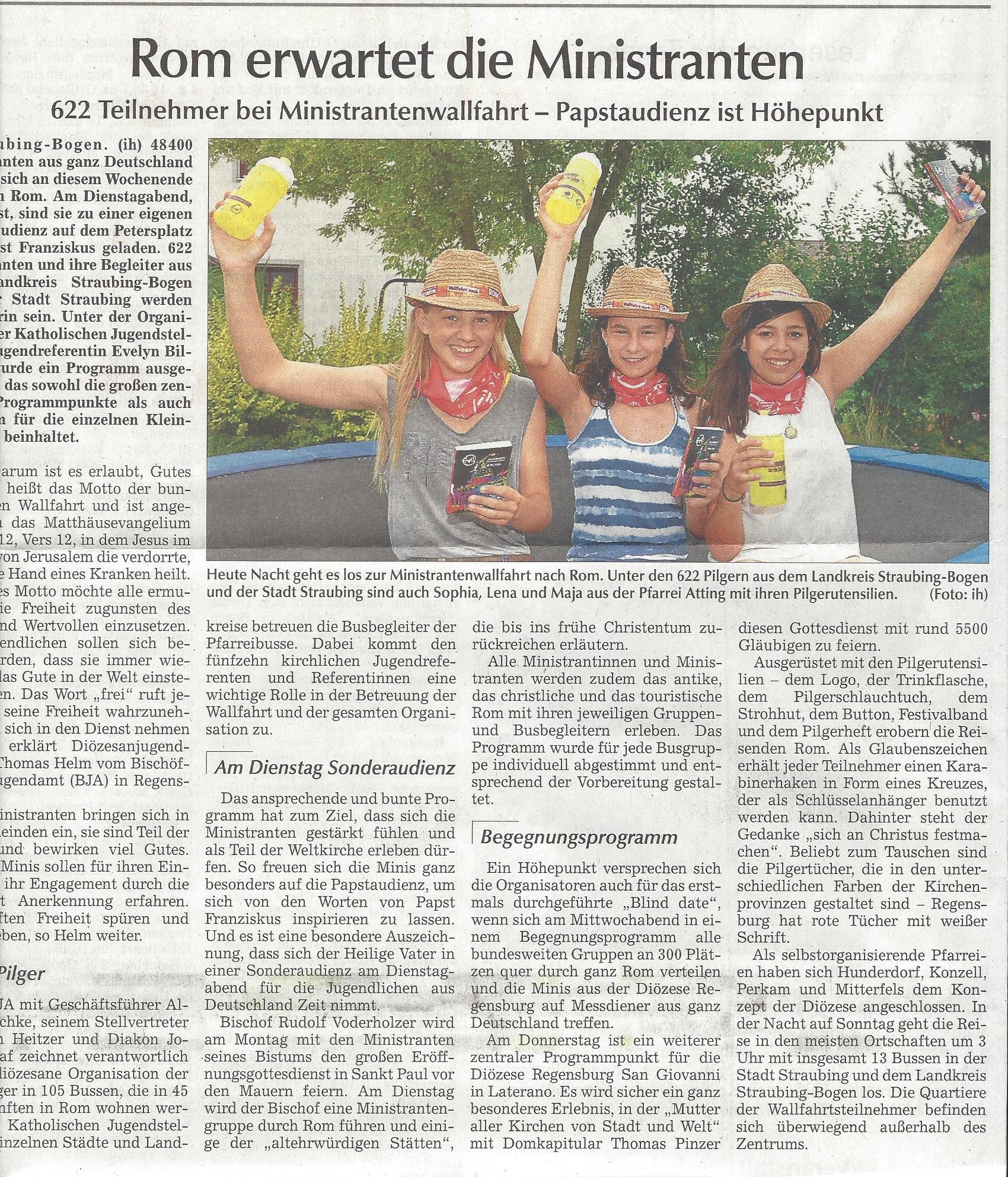 presseartikel_attinger_ministranten_wallfahren_mit_Diözese_nach_Rom
