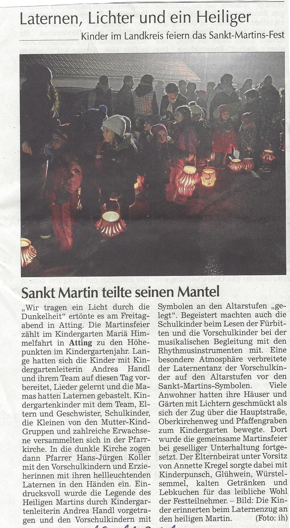 presseartikel_pfarrgemeinde_feiert_martinsfest_mit_kindergarten