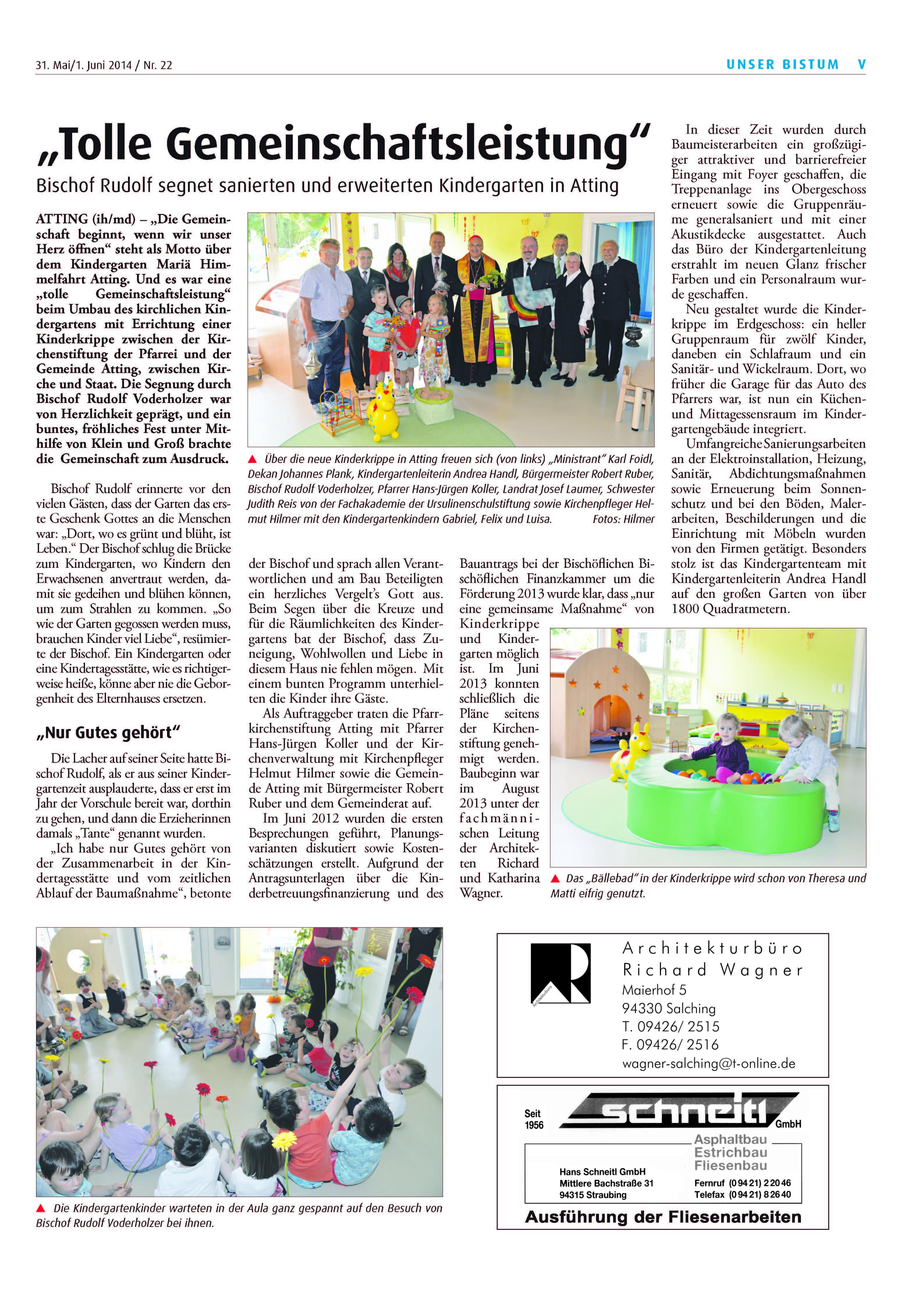 presseartikel_kindergarteneinweihung_kath_sonntagszeitung_bistum_regensburg