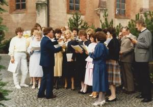 Kirchenchor beim Bischofsempfang 27. Juni 1985