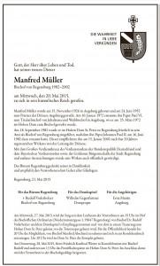 Todesanzeige Bischof em Manfred Müller